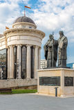 Sculpture Ss. Cyril and Methodius. In Skopje Royalty Free Stock Photos