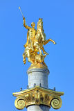 Sculpture of St George on the top of Freedom Monument in Tbilisi Royalty Free Stock Photo