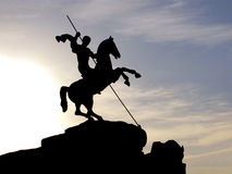 Sculpture St. George the Victorious on horse Stock Photos