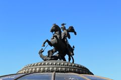 Moscow, Russia - May 26, 2018: Sculpture of George the Victorious on Manezh Square royalty free stock images