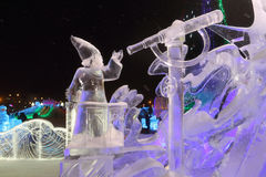 Sculpture Stargazer at night, Ice town Stock Image