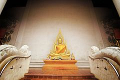 Sculpture statue, thai style. Gold buddha statue in thai temple, Thailand royalty free stock images
