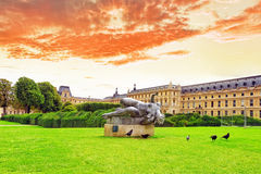 Sculpture and statues in Garden of Tuileries. Stock Photography