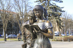 Sculpture of students  in Krasnodar Stock Images