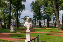 Sculpture of the Summer garden. SAINT PETERSBURG, RUSSIA - AUGUST 18, 2017: the Sculpture of the Summer garden. The park is one of the oldest in Saint Petersburg Royalty Free Stock Photography