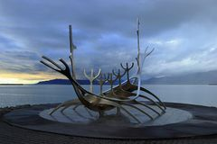 Reykjavik, Iceland - Dramatic Evening Light on the Sun Voyager Sculpture