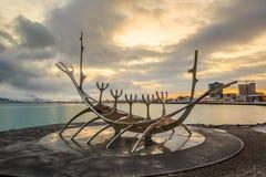 Sculpture of Sun Voyager in Reykjavik, Iceland Royalty Free Stock Image