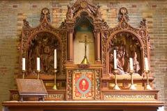 Sculpture sur bois catholique Photographie stock libre de droits