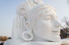 Sculpture sur neige Photographie stock