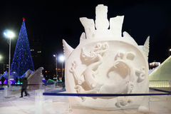 Sculpture sur neige dans la ville de glace Images libres de droits