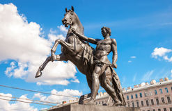 Sculpture tamer of horses, designed by the Russian sculptor Baro Royalty Free Stock Image