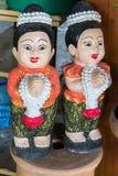 Sculpture thaïlandaise en fille pour l'accueil de Sawasdee de la Thaïlande Photographie stock