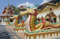 Sculpture at the Thai temple Wat Chayamangkalaram Royalty Free Stock Photos