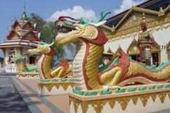 Sculpture at the Thai temple Wat Chayamangkalaram royalty free stock photos