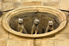 Sculpture of three cats looking out of window in Old Town quarter of Baku. Baku, Azerbaijan - July 23, 2017. Sculpture of three cats looking out of window in Stock Photo