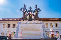 The sculpture of three kings monument in town which is a symbol of Chiang Mai province Stock Images