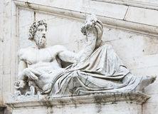 Sculpture of Tiber river in the Capitolium planed by Michelangelo in Rome Stock Photos