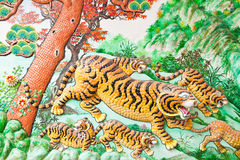 Sculpture of Tigers in Chinese temple Stock Images