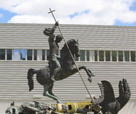 Sculpture titled Good Defeats Evil presented to United Nations by the Soviet Union in 1990 in New York Stock Photo
