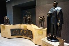 Sculpture to the President of Kazakhstan Nursultan Nazarbayev in. The lobby of the National Museum of the Republic of Kazakhstan in the city of Astana stock photography