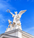Sculpture on the top of the Zurich Opera House building. Royalty Free Stock Images