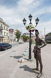 Sculpture of Tourist on the central square of Kamianets-Podilskyi, Ukraine Stock Images