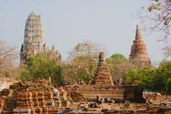 Sculpture traditionnelle de la Thaïlande Bouddha à Ayutthaya Image libre de droits