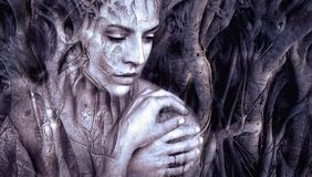Sculpture, Tree, Human, Darkness Royalty Free Stock Photography