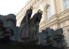 Sculpture trois Muses (festival des Muses), théâtre, Vilnius, Lithuanie Photo libre de droits