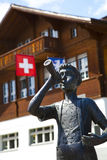 Sculpture of a Trumpeter Boy in Brienz Royalty Free Stock Photography