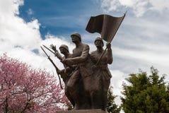 Sculpture in Turkey. A memorial sculpture of three Turkish soldiers on the Gallipoli peninsula, Turkey Stock Photo