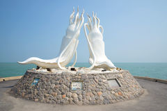 Sculpture of two giant squid in the background of the Gulf of Thailand. Cha-Am Royalty Free Stock Photo