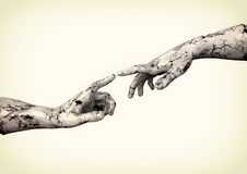 Sculpture of two hands Royalty Free Stock Photography