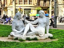 Sculpture two women in Barcelona, Spain Stock Photography