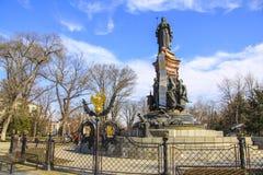Sculpture of tzarina Ekaterina II in  Krasnodar. Metal details Stock Photography
