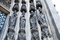 Sculpture under gate of Cologne cathedral Royalty Free Stock Photo