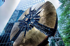 Sculpture in uptown charlotte grande disk Royalty Free Stock Image