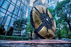 Sculpture in uptown charlotte grande disk Royalty Free Stock Photos
