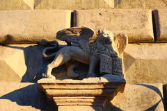 Sculpture of venetian a lion. Ukraine. Stock Photos