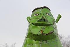 Sculpture verte en Shrek en métal Photos stock