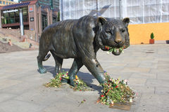 Sculpture walking tiger in the Oslo Central Station square, Norway Royalty Free Stock Images