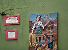 Sculpture on a wall in Caminito Royalty Free Stock Photo