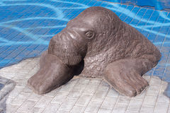 Sculpture of walrus. In a zoo Royalty Free Stock Photography