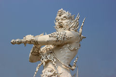 Sculpture at Wat Rong Khun or White Temple, a contemporary uncon. Ventional Buddhist temple in Chiangrai, Thailand, was designed by Arjan Chalermchai Kositpipat Stock Photos