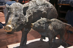 Sculpture of wild pigs, sow and piglet, in Sedona Arizona Royalty Free Stock Photography