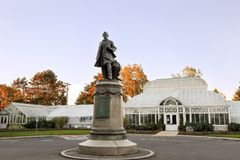 The sculpture of William Henry Seward at the Volunteer Park Conservatory stock images