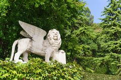 Sculpture of a winged lion, made from a painting by V. Carpaccio in 1516 royalty free stock images