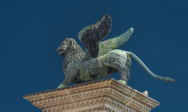 Sculpture of winged  lion of Venice at Doge Palace, Venice, Ital Royalty Free Stock Photo