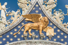 Sculpture of winged  lion of Venice at Doge Palace, Venice, Ital Royalty Free Stock Photos