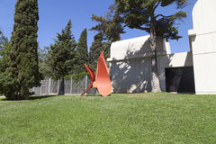 Sculpture 4 Wings by Alexander Calder before entering to Joan Miro, Barcelona, Spain Royalty Free Stock Photography